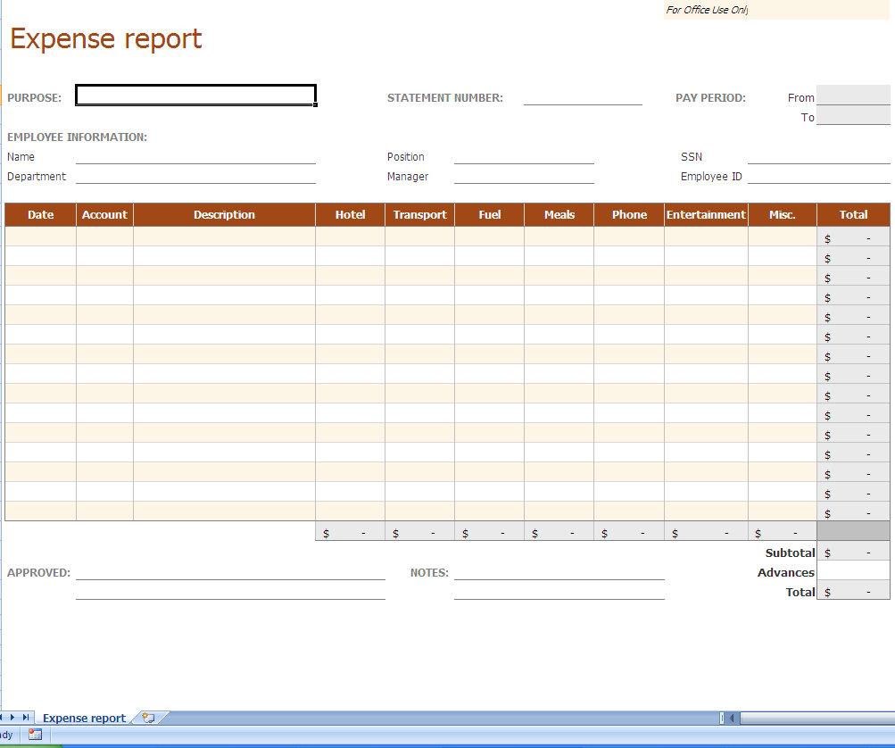 Business Financial Worksheet Template