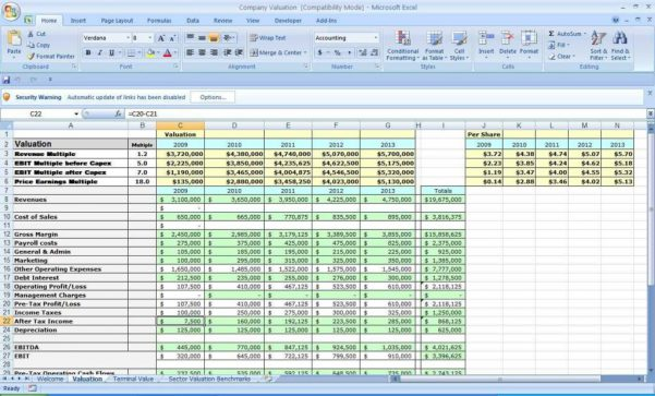 Business Plan Spreadsheet Template Excel