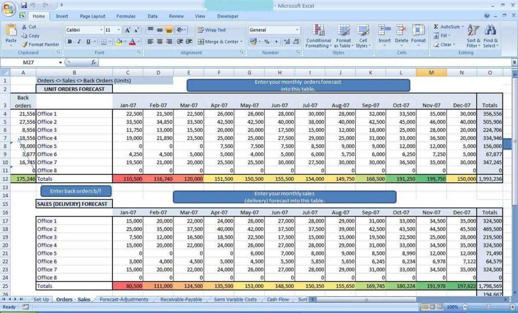 Business Plan Spreadsheet Template Free