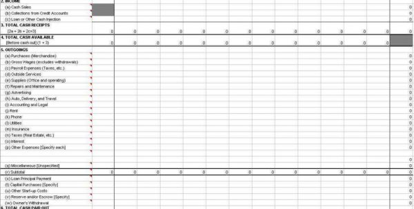 Business Spreadsheet Example