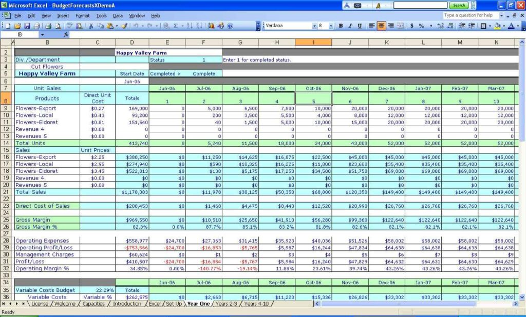 Business Start Up Budget Template