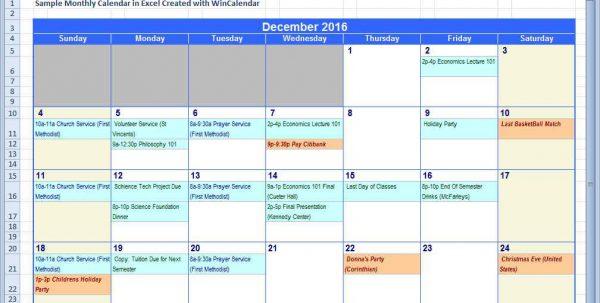 Calendar Spreadsheet