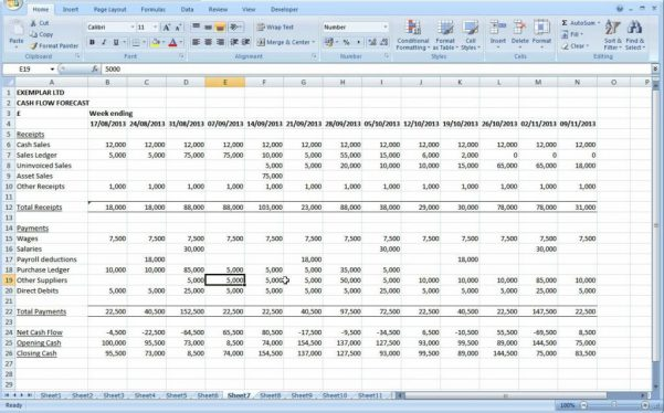 Cash Flow Excel Template Uk