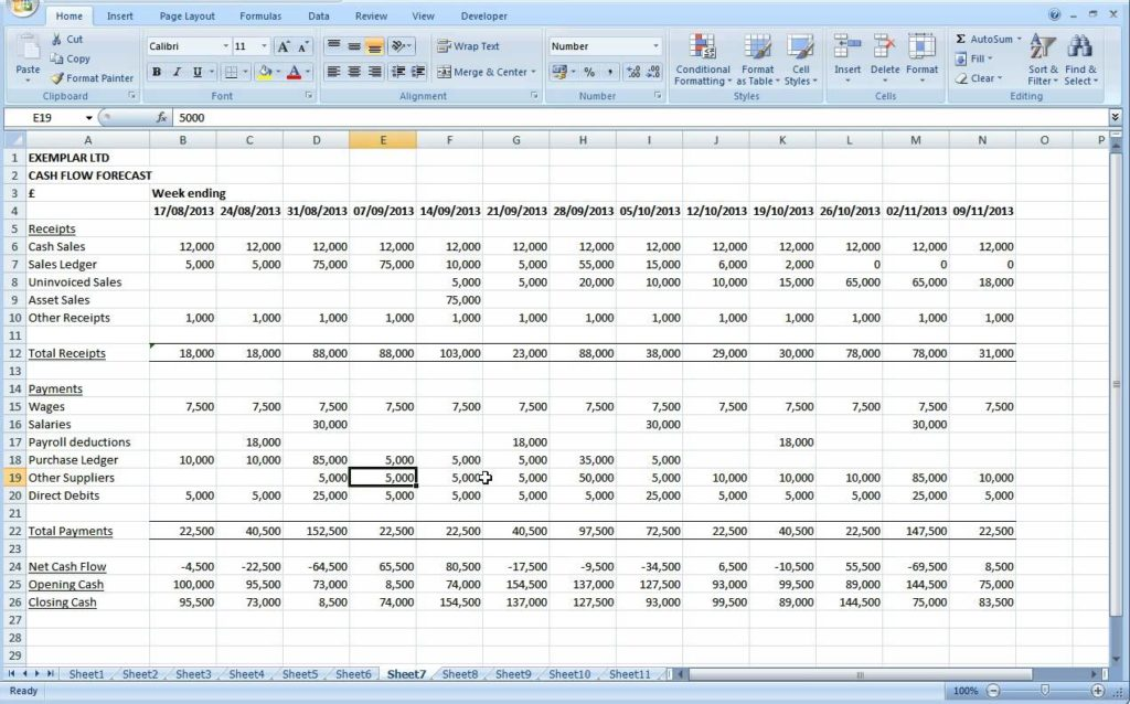 cash flow excel spreadsheet template excel spreadsheet