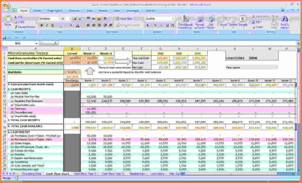 Cash Flow Excel Templates Free