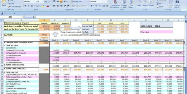 Cash Flow Projections Template Excel