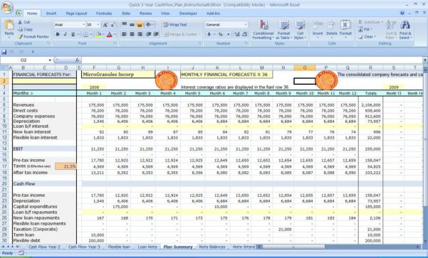 Cash Flow Template Excel Microsoft