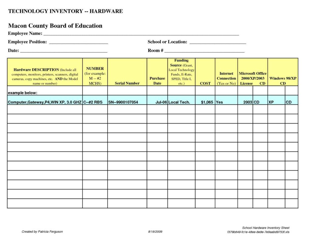 Chemical Inventory Spreadsheet Template