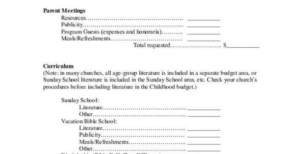 Church Department Budget Template