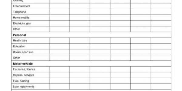 College Budget Spreadsheet Template