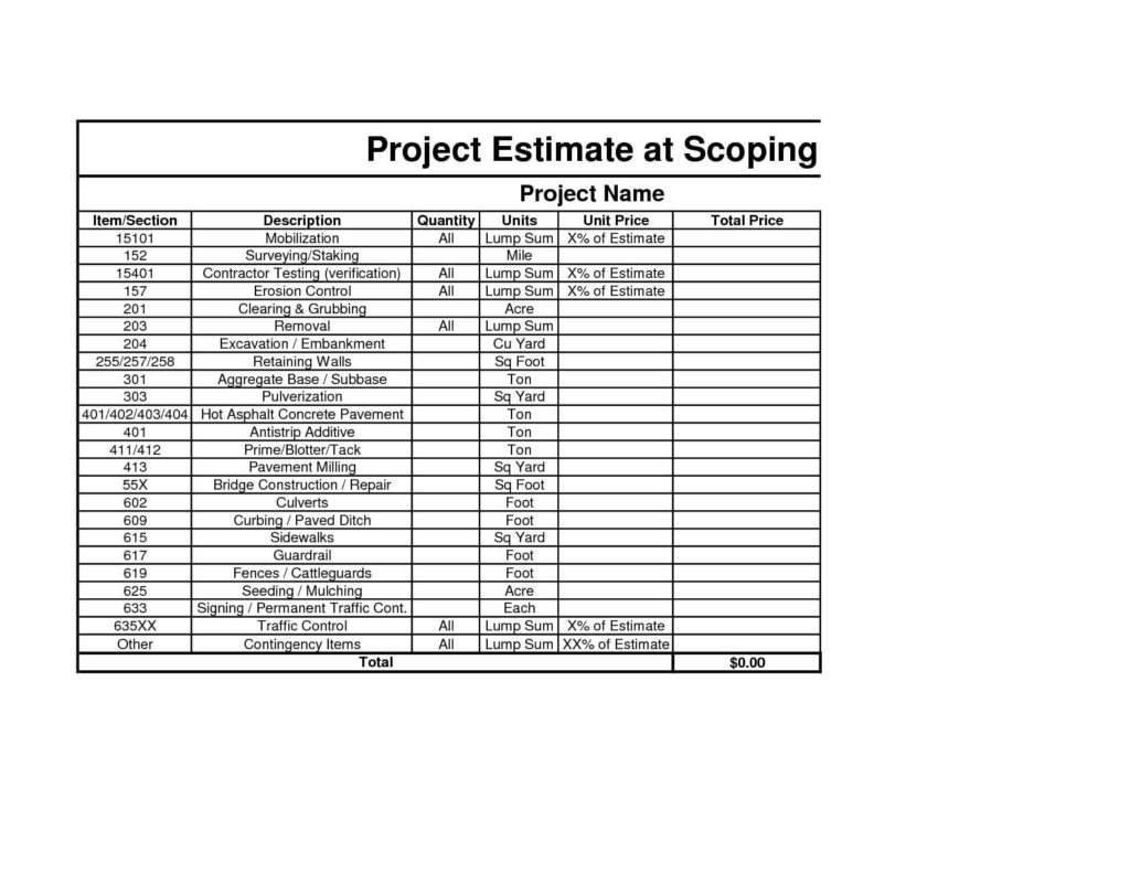 Construction Cost Estimate Template Excel Estimate