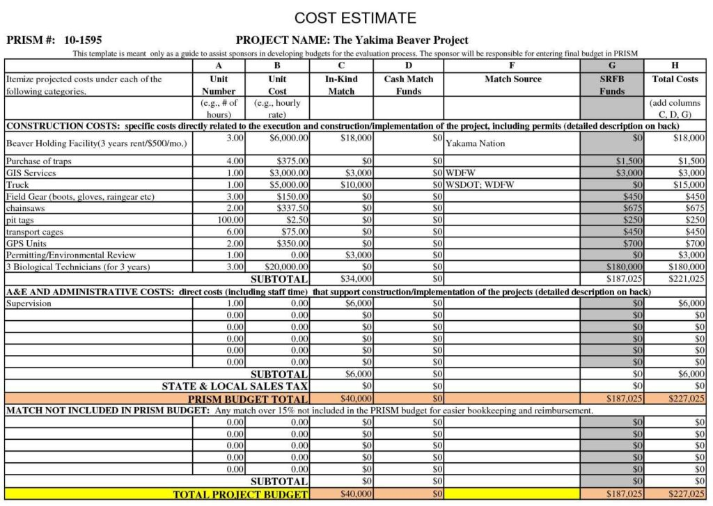 Construction Project Cost Estimate Template Excel Db