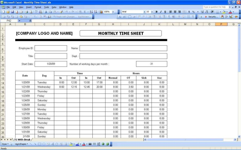 time spreadsheet template db