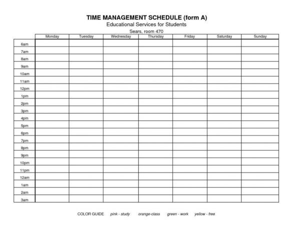 Daily Time Management Sheet Template