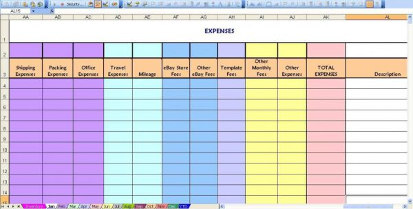 Ebay Selling Spreadsheet Template