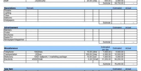 Event Budget Sheet Template