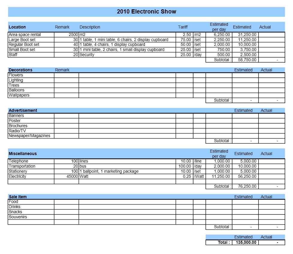 event budget spreadsheet template budget spreadsheet spreadsheet templates for busines event. Black Bedroom Furniture Sets. Home Design Ideas