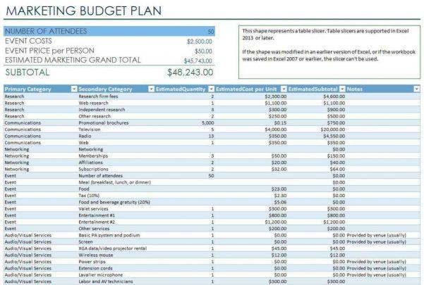 Event Planning Budget Sheet
