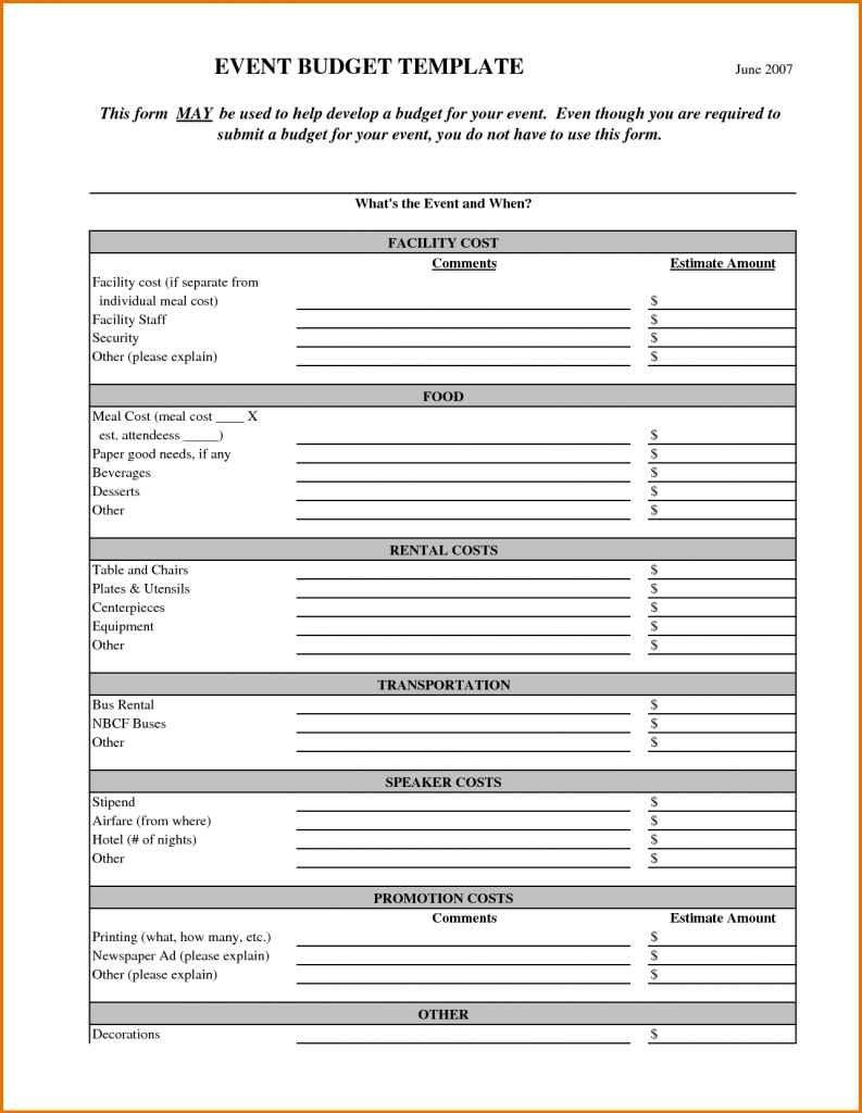 Event Planning Outline Template
