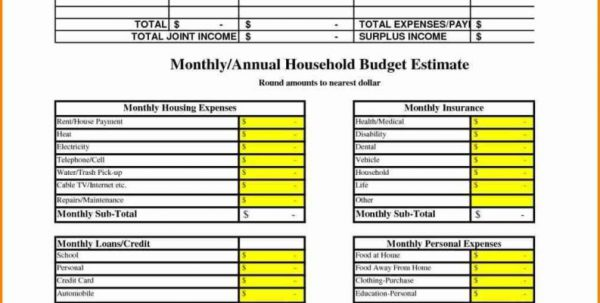 Example Of Household Budget Worksheet