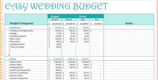 Example Of Wedding Budget Spreadsheet