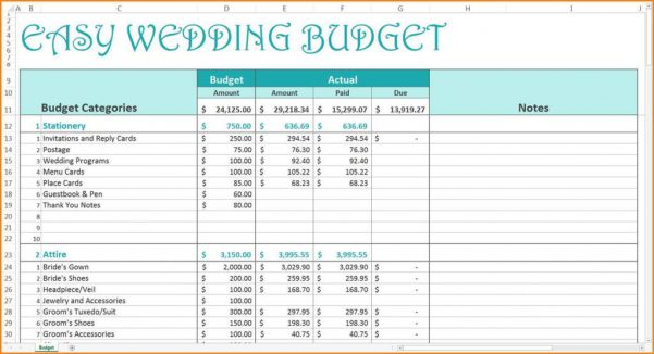 Example Of Wedding Budget Spreadsheet