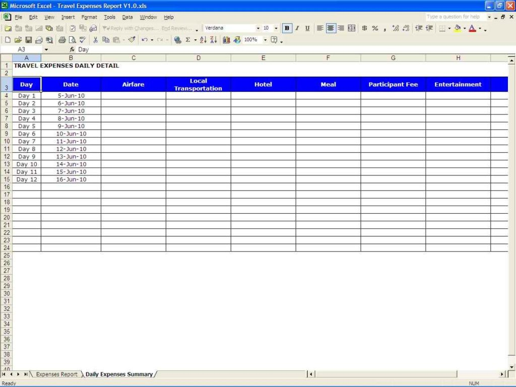 Excel Sheet For Expenses Monthly