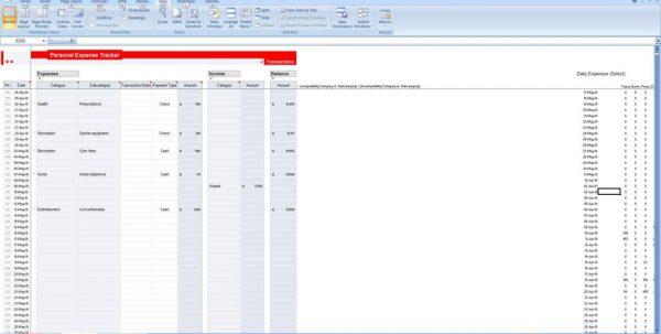 Expense Tracker Spreadsheet