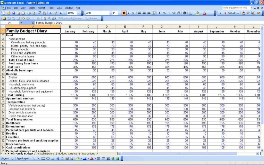 Family Budget Spreadsheet Template Excel
