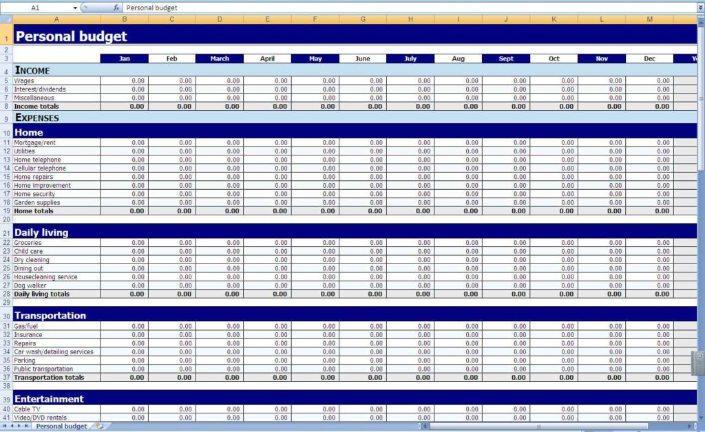 Free Budget Excel Spreadsheet Monthly