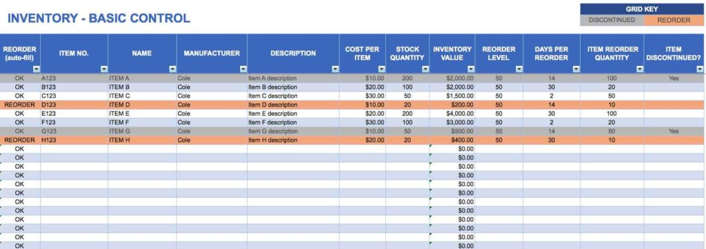 Free Download Excel Template Inventory Management