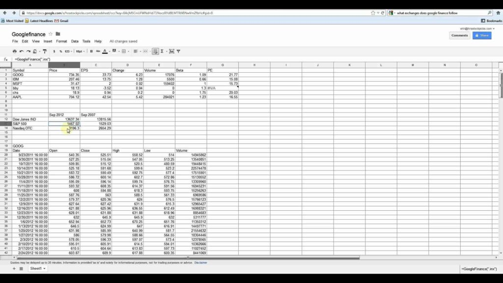 Google Docs Spreadsheet Functions