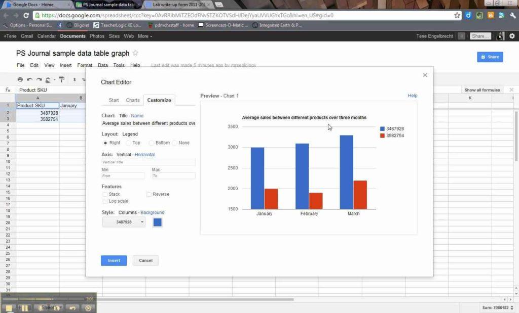 Google Spreadsheets Charts