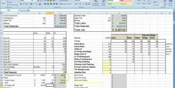 Home Building Cost Estimate Spreadsheet