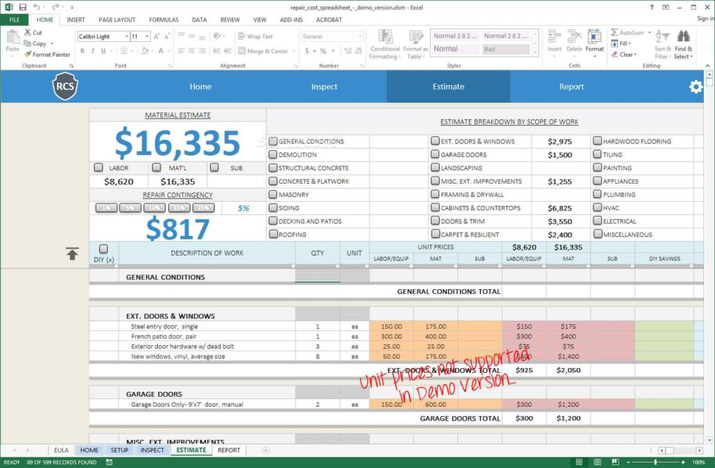 Home Renovation Budget Spreadsheet Template Renovation