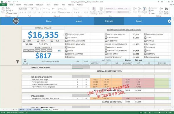 Home Renovation Budget Spreadsheet Template