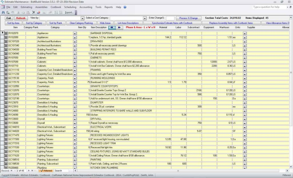Cost estimate spreadsheet driverlayer search engine for Home building cost spreadsheet