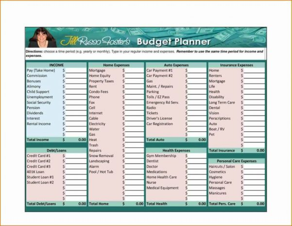 Household Budget Spreadsheet Template Free