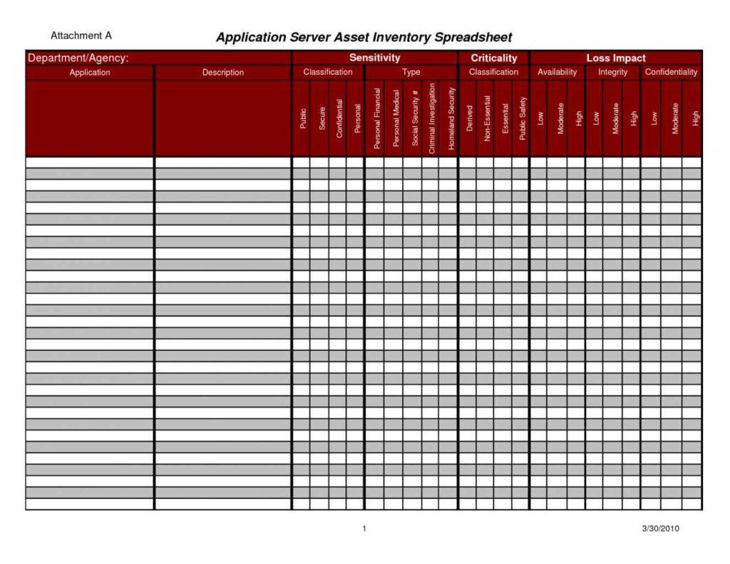 sample inventory sheet