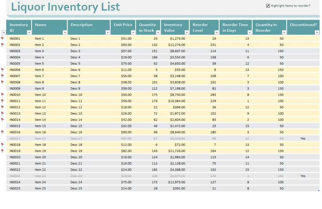 template for inventory management
