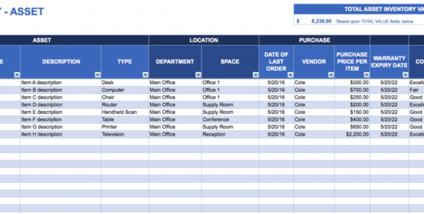 Inventory Stock Control Spreadsheet Template