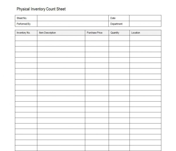 Inventory Tracking Sheet Template