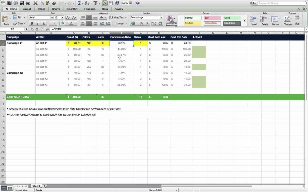 Marketing Plan Excel Spreadsheet
