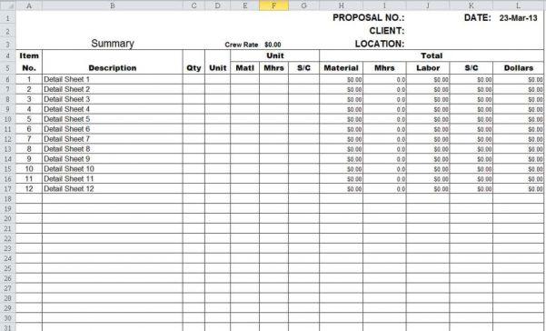 Millwork Estimating Spreadsheet