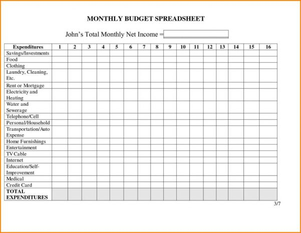 Monthly Bills Spreadsheet Template