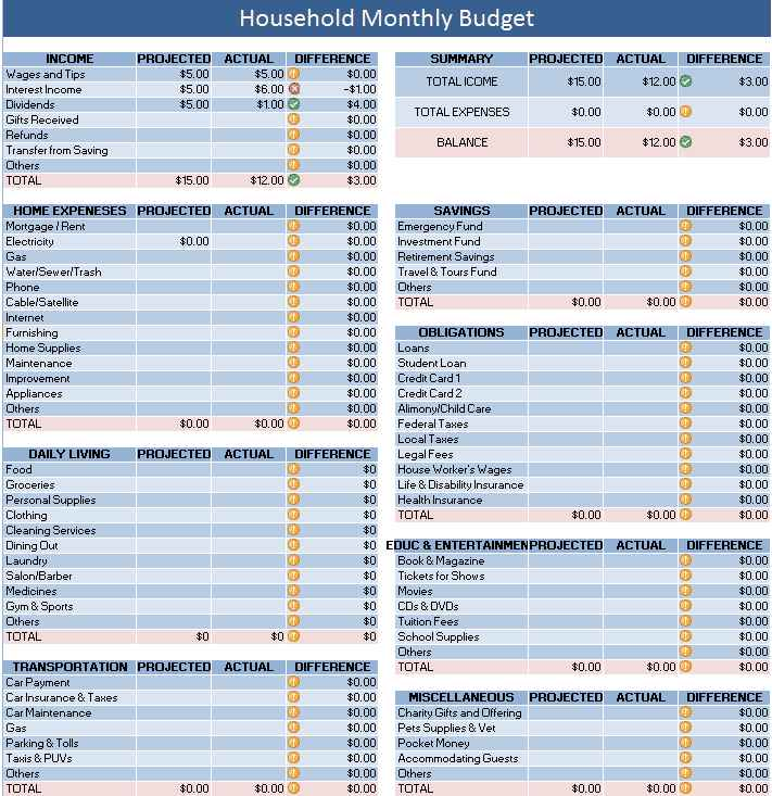 home finances spreadsheet