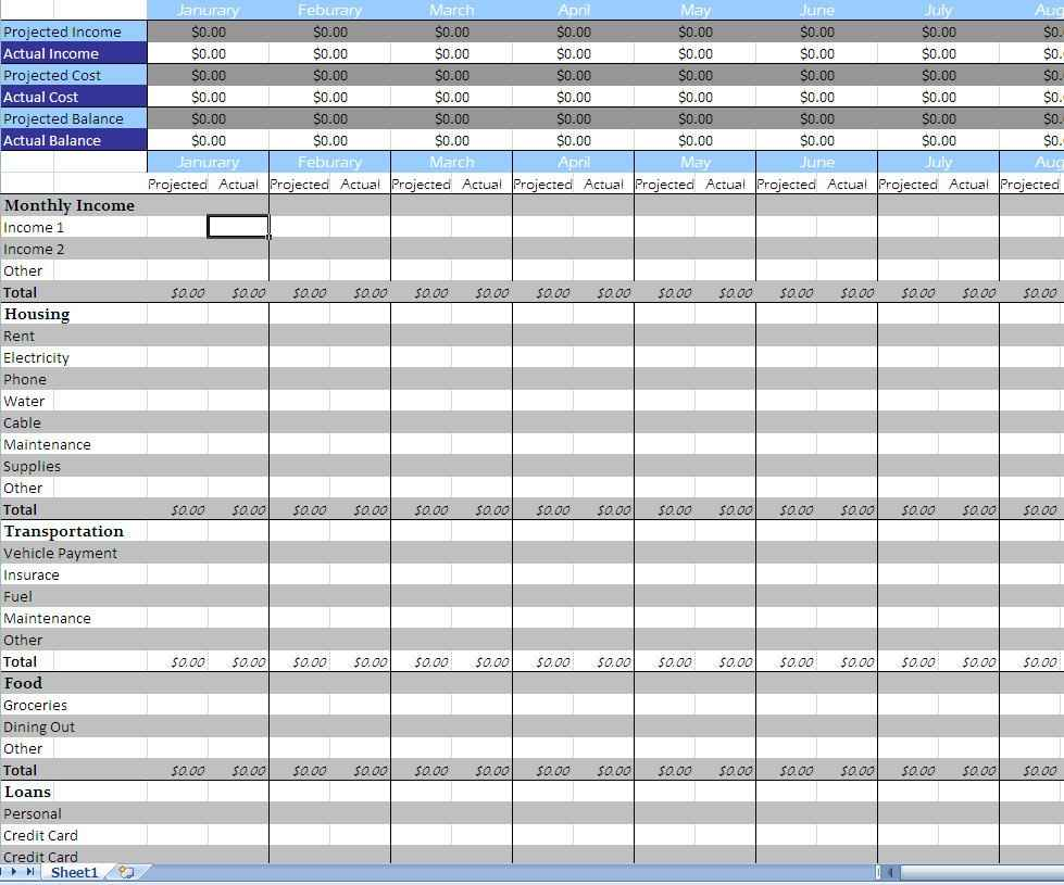 Monthly Budget Spreadsheet Template Free