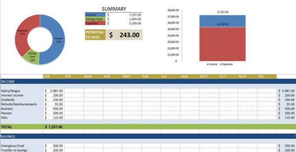Monthly Expense Spreadsheet Template Excel