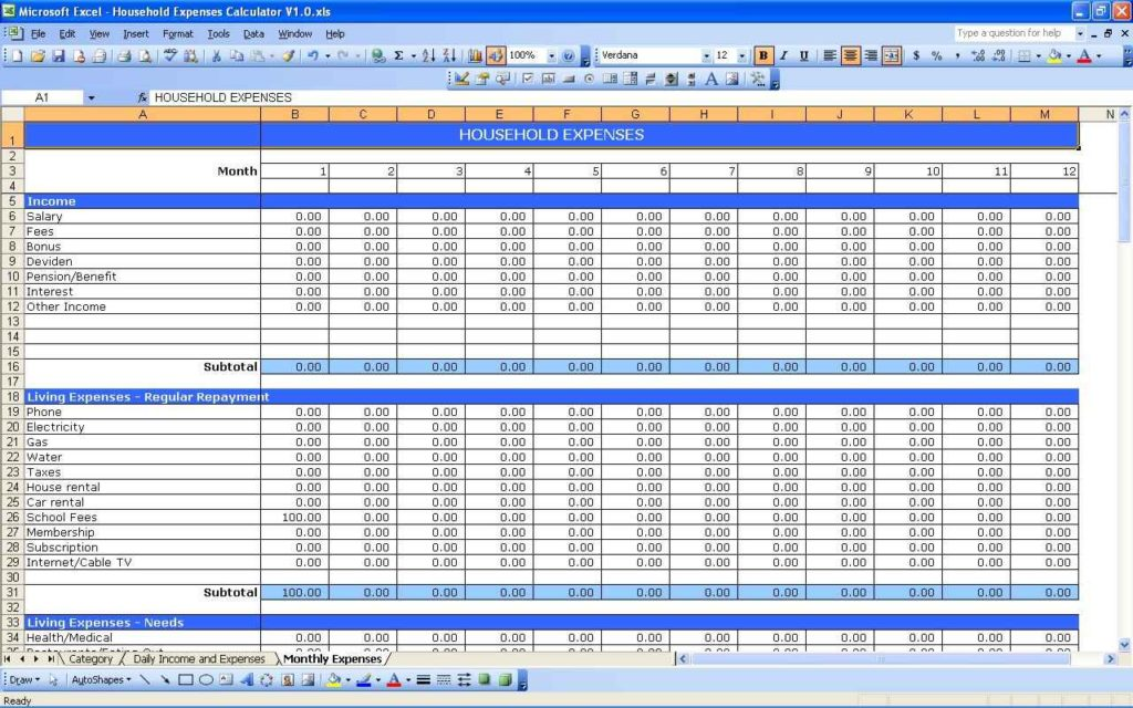 Monthly Expense Spreadsheet Template Expense Spreadsheet Template ...