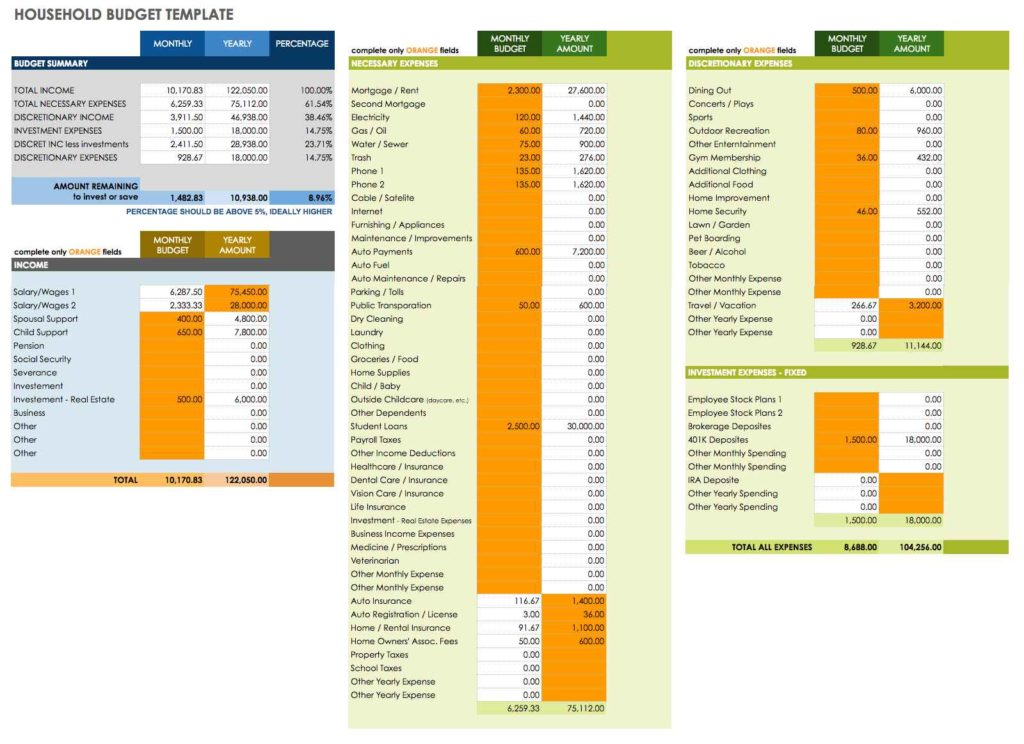 monthly expenses spreadsheet template monthly bill